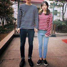 Korean Couple Fashion/Look 커플룩 . Daily Fashion, Fashion Online, Korean Image, Blog Online, Korean Couple, Fashion Couple, Couple Outfits, Chic Dress, Cute Couples