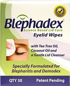 Blephadex Eyelid Wipes - Effective and Comfortable Solution for Itchy Eyelids, Blepharitis and Demodex - Contains Tea Tree Oil, Coconut Oil and a Gentle Eyelid Cleanser -1 Month Supply - 30 Wipes for Daily Use Blephadex