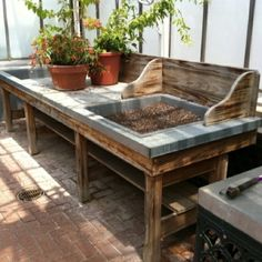 A potting bench or potting station is the perfect spring project for your garden, porch, or garden shed, and right now is the perfect time. Station D'empotage, Potting Station, Pallet Potting Bench, Potting Tables, Potting Bench With Sink, Outdoor Tables, Outdoor Spaces, Outdoor Living, Outdoor Decor