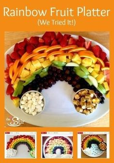 It's almost St. Patrick's Day, and it's almost time to taste the rainbow. Taste the rainbow fruit platter Party Platters, Party Dishes, Rainbow Fruit Platters, Good Food, Yummy Food, Fun Food, Healthy Food, St Patricks Day Food, Saint Patricks