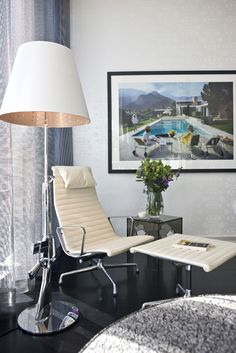"""Designer Showhouse for Hope & Help (VUE Penthouse). """"The Library"""". USM Modular Furniture, USM Haller Glass Table/Desk, FLOS Lighting, Herman Miller, Wallpaper by Marcel Wanders, AREAWARE and Alessi Accessories, ROMO Fabrics, """"Poolside Gossip"""" - Slim Aaarons."""