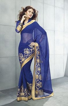 Royal #blue wrinkle #chiffon #sarees by Yellow Fashion. #Sari #IndianWear #Fashion #Style