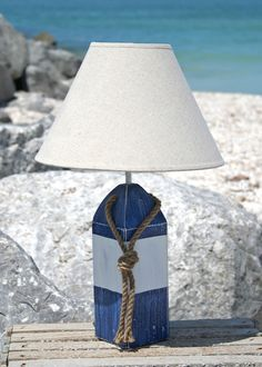Blue and White Striped Buoy Lamp- great idea in a kids' nautical room!