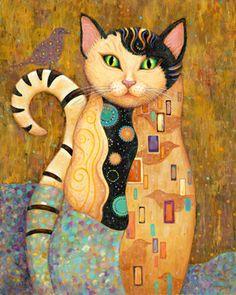 """Audubon"" ~ (Klimt-inspired?) painting by Marjorie Sarnat. S) bejeweled kitty cat"