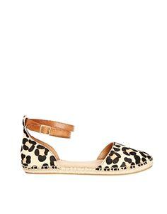 ALDO – Zanca – Flache Schuhe mit Leopardenmuster und Fesselriemen