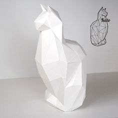 Kato - Feline Cat Print & fold papercraft kit printable low poly object