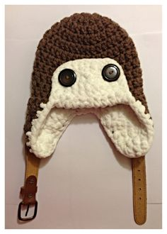 Child's Crochet Aviator Beanie with up-cycled belt closure and super soft, chunky yarn