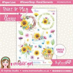 PP/193/CC/FS-FE - Print&Play - CUTE CUTS - Flower Shop-Floral Elements - Revive Collection