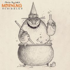Cauldrons make for great bubble baths. #morningscribbles #countdowntohalloween