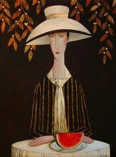 Camille's Feast, by Danny McBride Joe Cocker, Amedeo Modigliani, Mc Ride, Danny Mcbride, Chris De Burgh, Art Drawings Beautiful, Naive Art, Art Drawings Sketches, Woman Painting