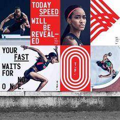 "From a design perspective: the curved lines mirroring the angle and motion of limbs, singular direction of movement, varying starting points of text all combine to create this competitive energy that screams ""get ahead of the line/get ahead of the curve!"" which is a great promo message for the brand. Although.. it can be said the perpetuated representational stereotype of the ""primal"" Other could and should be questioned... from an analytical point of view.. --CM--"