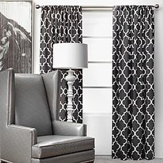 wanting and loving these curtains for my black and white living room in my new apartment