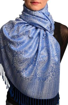 White & Bright Blue Paisleys Pashmina Feel With Tassels