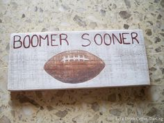 DIY Decorative Football Sign from scrap wood or a pallet board.  #BoomerSooner OU Sooners Football Decoration