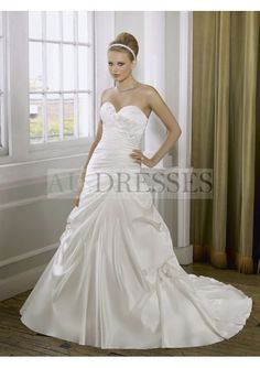 Luxury yet simple style Satin Sweetheart A-Line wedding gown - A-Line Wedding Dresses - Wedding Dresses