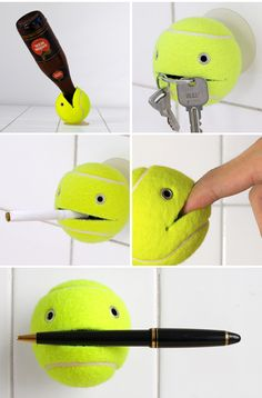 Tennis Ball Assistant. DIY with a suction cup, knife and googley eyes (I'm actually thinking this could be a good idea in the kid's bathroom for a toothbrush holder...)
