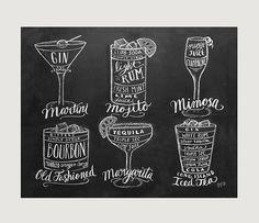 Cadeau de barman Cocktails Print Bar panier par LilyandVal