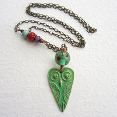 Verdigris owl necklace bronze owl heart pendant by THEAjewellery, £36.00