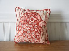 Bird Head Hand Printed Decorative Canvas Pillow by HorseAndHare, $35.00