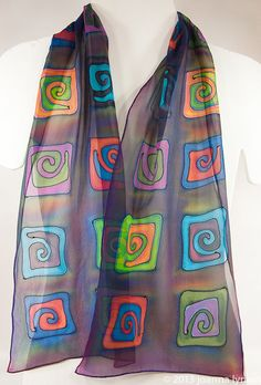 Hand painted Silk Scarf / Spiral silk scarf. by SirenSilks on Etsy