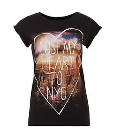 Black Lost My Heart NYC T-Shirt | New Look