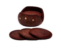 """""""Woodland Host"""" Wooden Drink Coasters - Handmade Retro Wood Coaster Set with 6 Round Table Coasters & Decorative Wooden Holder - Buy in Bulk Wholesale"""