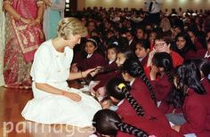 Princess Diana visits children at the Shri Swaminararyan Hindu Mission Temple in Neasden, North London which is the biggest temple outside of India.