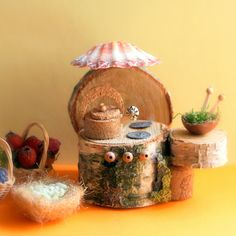 Magical handmade rustic fairy furniture made from natural materials in this delightful kid-made FAIRY GARDEN from The Magic Onions Blog and FairyGardens.com
