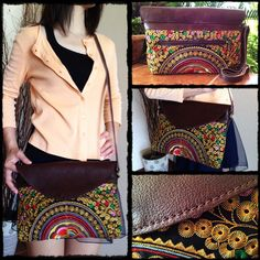 Golden Spiral Leather Cross-body Bag embroidery of the Hilltribes Thailand (KPS8404)