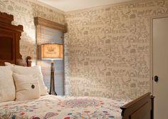 "Fun ""safari"" wallpaper in a guest room! Moon Painting, Paper Moon, Wallpaper Gallery, Guest Room, Safari, Interior Design, Projects, Fun, Inspiration"