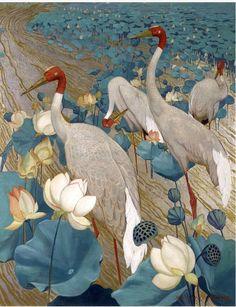 """Jessie Arms Botke (American Artist) """"Demoiselles Cranes and Lotus"""" 1934 Via Modern Art Century. Art Chinois, Art Asiatique, Art Japonais, Ouvrages D'art, Art Et Illustration, Botanical Illustration, Art Graphique, Wildlife Art, Magazine Art"""