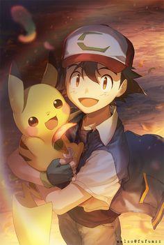 Pokemon - Ash & Pikachu - such pretty art Pikachu Pikachu, Image Pikachu, Eevee Pokemon, Pokemon Manga, Pikachu Crochet, Art Pokemon, Pokemon Tattoo, Pokemon Ships, Charmander