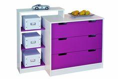 Links 20701010 Johanna - Cómoda para Habitación Infantil, color morado y blanco: Amazon.es: Hogar