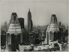 Fabulous view of Manhattan, including the Empire State Building (possible unfinished?), from the perspective of the Waldorf-Astoria uptown