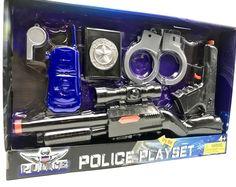 Police Play Set Kid Machine Gun Sound Military Army Play Set Deputy Gift #Ankyo