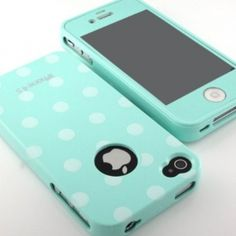 Glossy Polka Dot pattern Flex Gel silicone Case cover and mint screen film included for iPhone 4 4G 4S combo set- mint -:Amazon:Cell Phones & Accessories $14.00