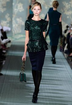 {Tory Burch Fall 2012, Peplum/Sequins} Can't say I'm a Tory fan but I like this mix of navy/black/forest