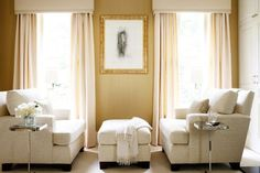 Bedroom seating area...really would love to sit here. // love the face-to-face sitting and the windows.