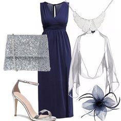 Pochette su abito blu