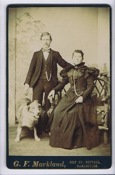 Clydebank, United Kingdom. Collie and family. Vintage photo.