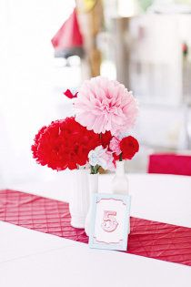 Pink and Red Centerpieces