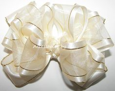 Girls Hairbow, Ivory Gold Hair Bow, Organza Satin Trim Barrette Clip, Toddler Baby Hairbows, Flower Girl Barrettes, Princess 1st Party Clips by AccessoriesbyMe on Etsy