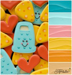 You're Grate! Punny Cheese Grater Cookie Icing Color Palette – The Sweet Adventures of Sugar Belle Rose Cookies, Iced Cookies, Sugar Cookies, Cookie Icing, Royal Icing Cookies, Cake Decorating Tips, Cookie Decorating, Cookie Designs, Cookie Ideas