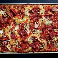 Hot and Sweet Soppressata and Fennel Grandma Pie- If you prefer a spicy pie, use twice as much hot soppressata and none of the sweet type.