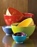 multi colored ceramic 7 piece mixing bowl set. william sonoma....
