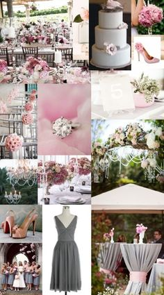 !!! Pink & grey & a little bit of green! This is the theme I would like to have!
