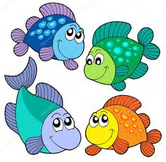 Cute fishes set vector image on VectorStock Cute Cartoon Girl, Cartoon Fish, Fish Drawings, Cartoon Drawings, Farm Coloring Pages, Kid Friendly Art, Nursery Pictures, Fish Vector, Cute Fish