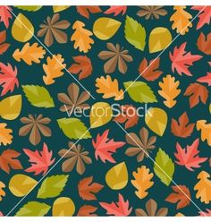 Seamless pattern with autumn leaves vector - by incomible on VectorStock®
