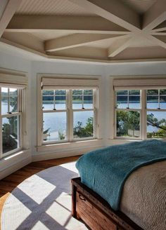 Who cares about the bed (which is beautiful) but that view... breathtaking!  Martha's Vineyard Interior Design