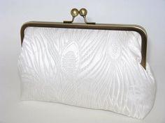 photo 1 of 5 Classic White Peacock-Bridal Clutch-Bridesmaid Clutch-Peacock Clutch-Wedding Purse-Brocade Clutch-Clutch   Handmade item Materials: brocade, silk dupioni, metal frame, wadding, interfacing